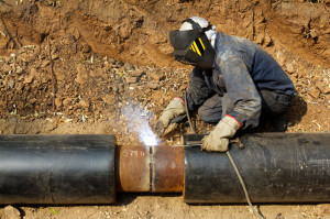 Welder working   pipeline